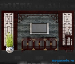 Thiết kế Chinese style retro red wooden TV wall